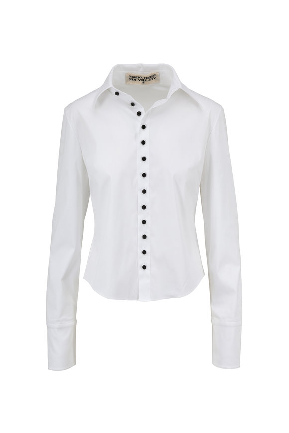 Norisol Ferrari Carine White Contrast Button Placket Blouse