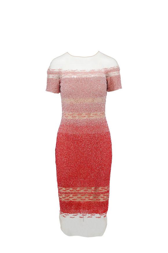 Pamella Roland Geranium Ombré Sequin Short Sleeve Signature Dress