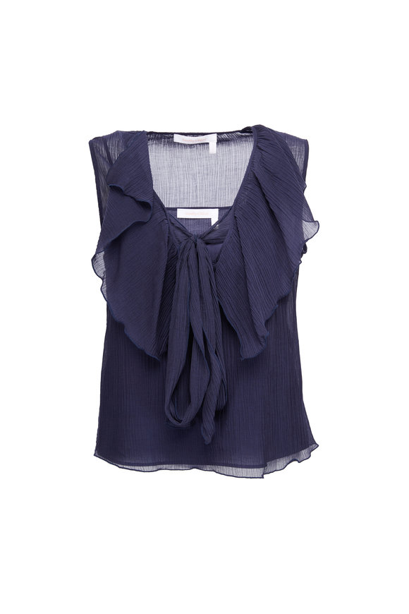 See by Chloé Eclipse Navy Ruffled Sleeveless Blouse