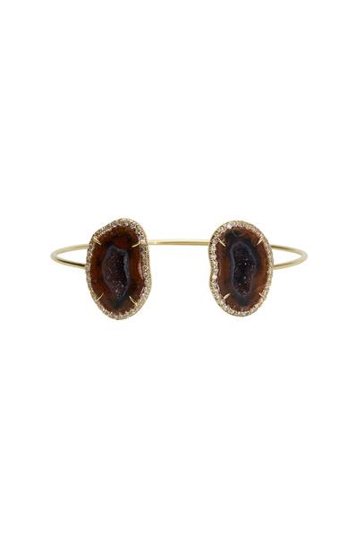 Kimberly McDonald - Yellow Gold Wire Cuff Geode Diamond Bracelet