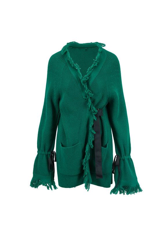 Sacai Green Wool Fringed Cardigan