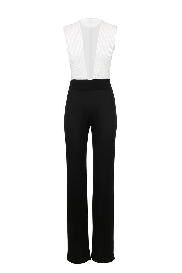 Galvan Tuxedo Black & White Plunging V-Neck Jumpsuit
