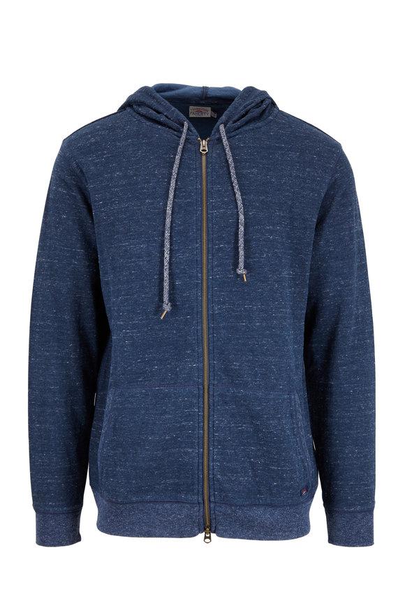 Faherty Brand Dual Knit Navy Blue Melange Zip Hoodie