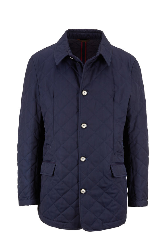 Waterville Ivo Navy Blue Diamond Quilted Jacket