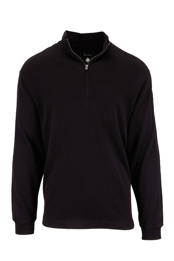 Thaddeus Apparel Fitzhugh Black Cotton Quarter-Zip Pullover