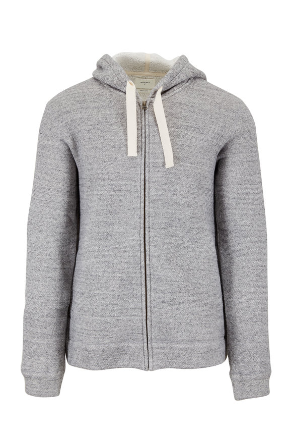 Billy Reid Heather Gray Melange Zip Hoodie