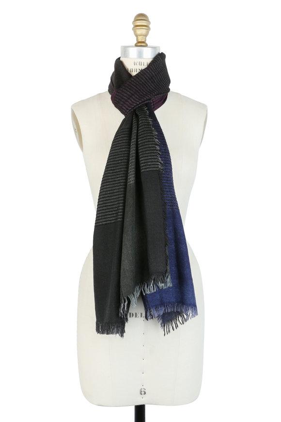 Faliero Sarti Purple Ombré Cashmere, Silk & Wool Scarf