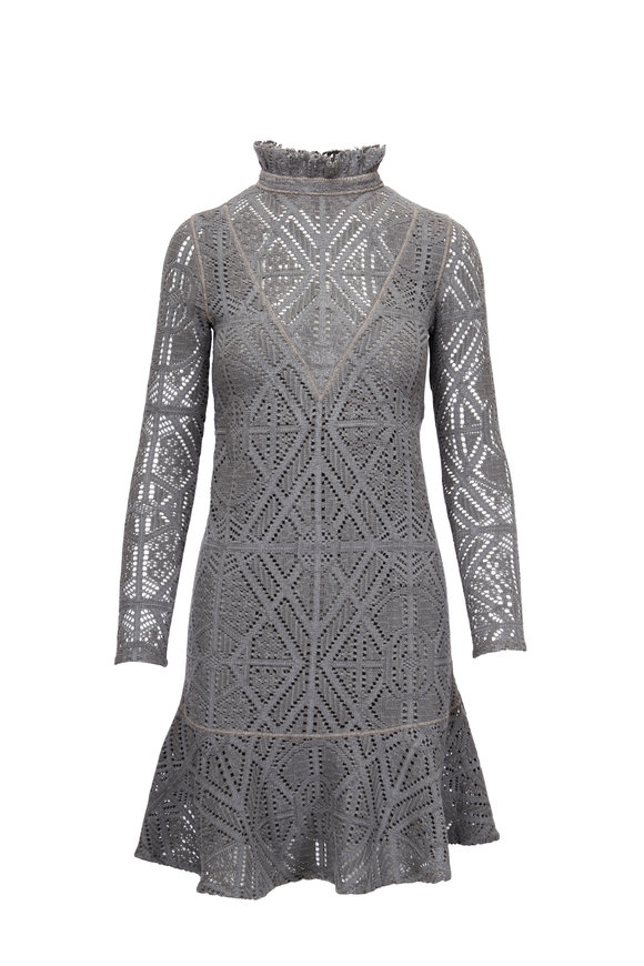 See by Chloé Carbon Green Turtleneck Lace Ruffled Dress