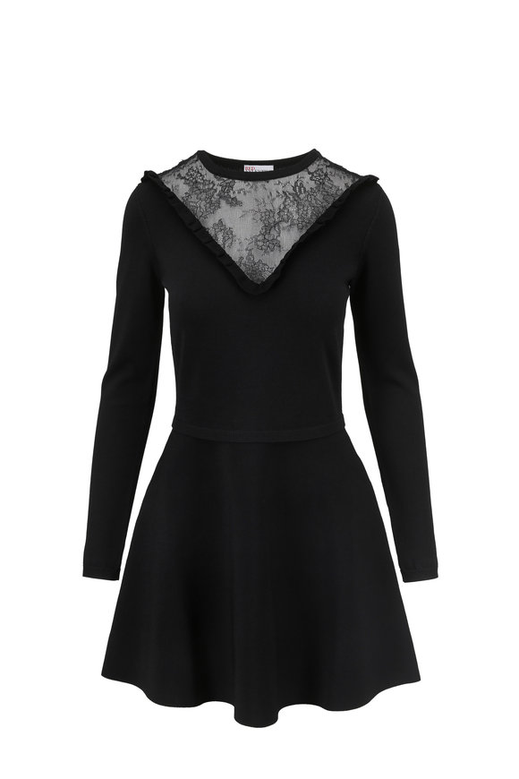 Valentino Red Black Long Sleeve Fit & Flare Dress