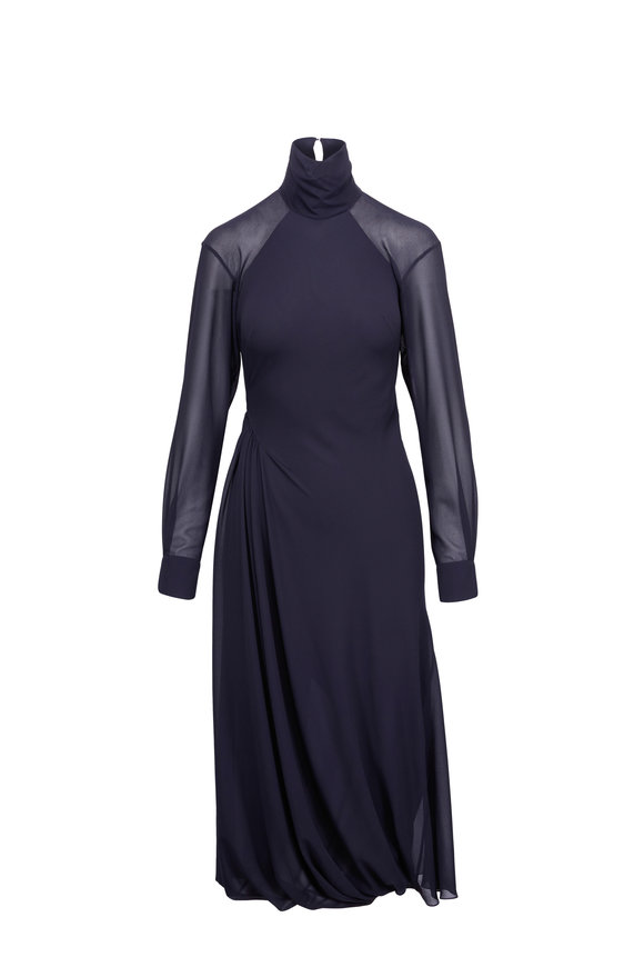 Victoria Beckham Dark Navy Chiffon Open Back Turtleneck Dress