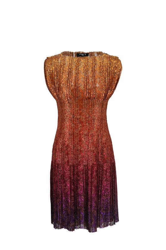 Paule Ka Multicolor Ombré Pleated Cocktail Dress