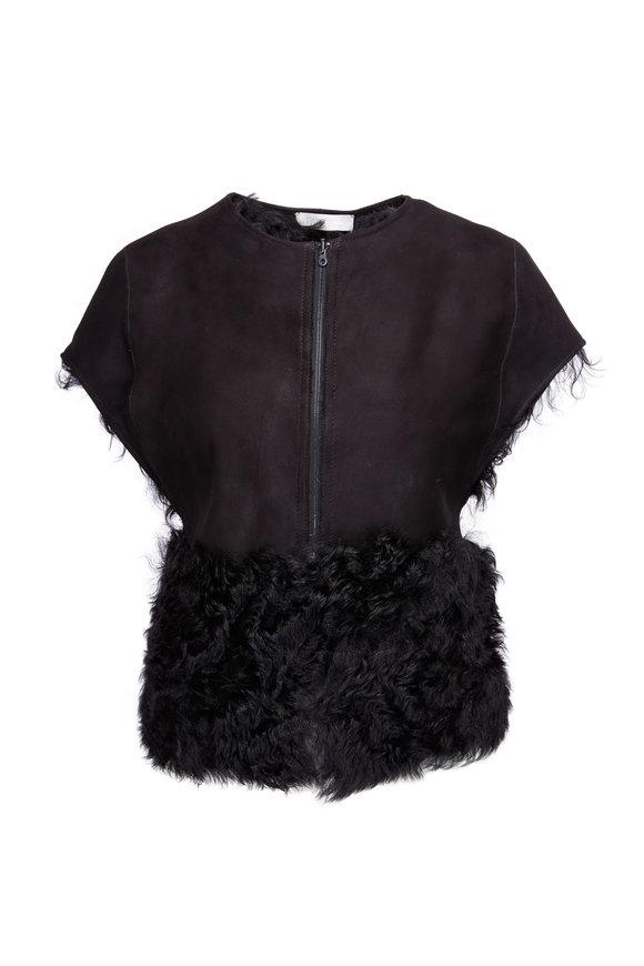 Partow Josephine Black Shearling Cap Sleeve Vest