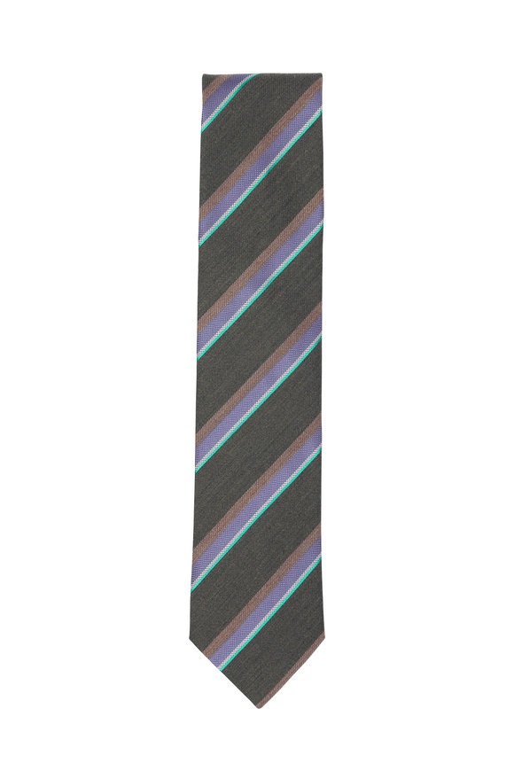 Eton Brown Striped Wool & Silk Necktie