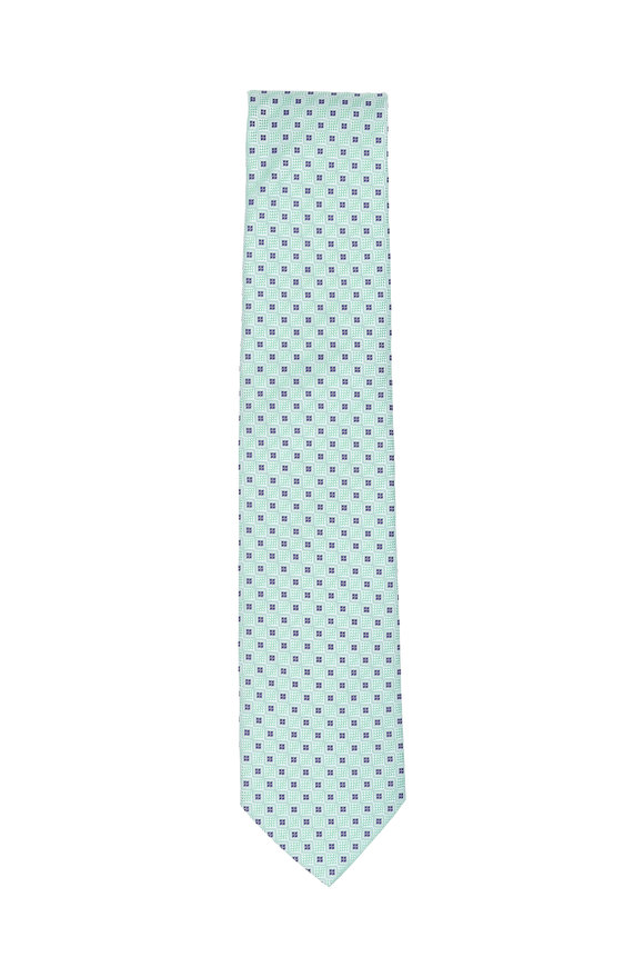Eton Light Green Square Pattern Silk Necktie