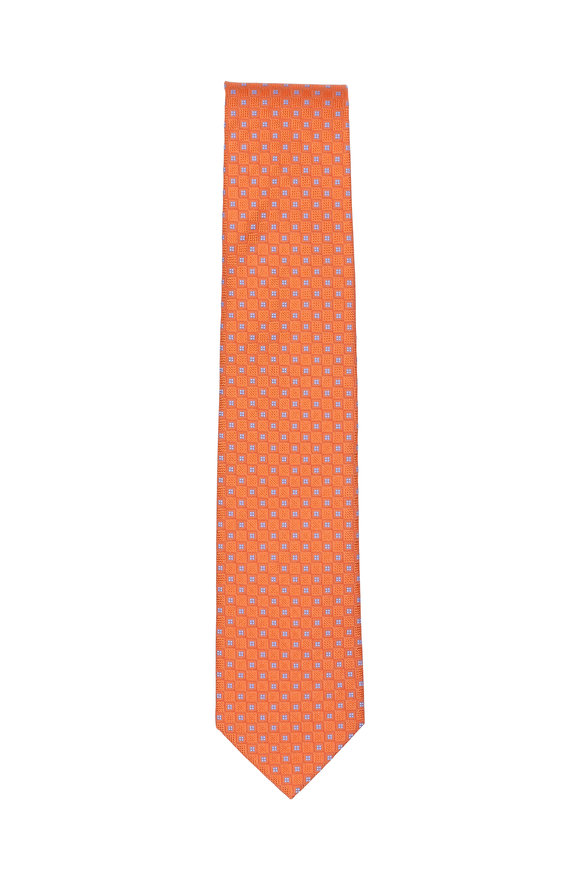 Eton Orange Square Pattern Silk Necktie