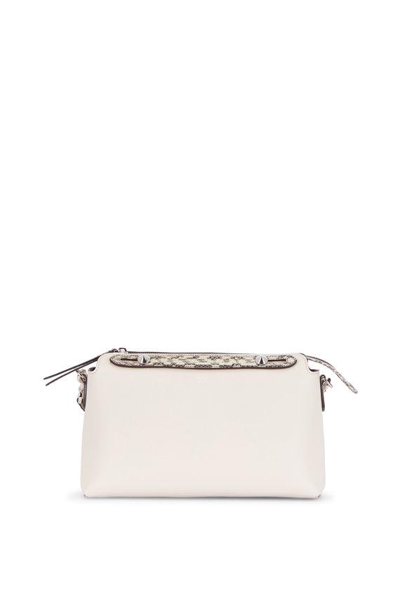 Fendi By The Way Camelia Leather & Snakeskin Boston Bag