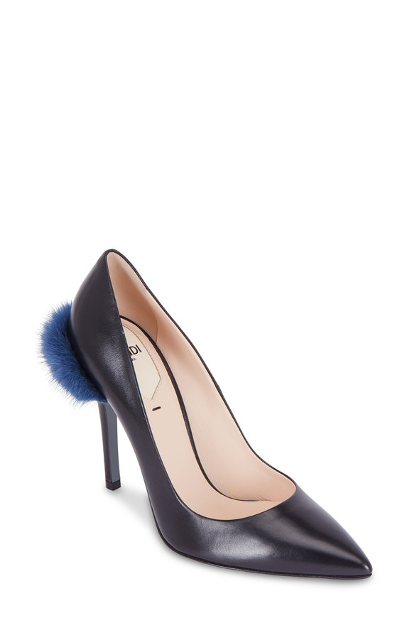 Fendi Black Leather Mink Trim Pump, 105mm
