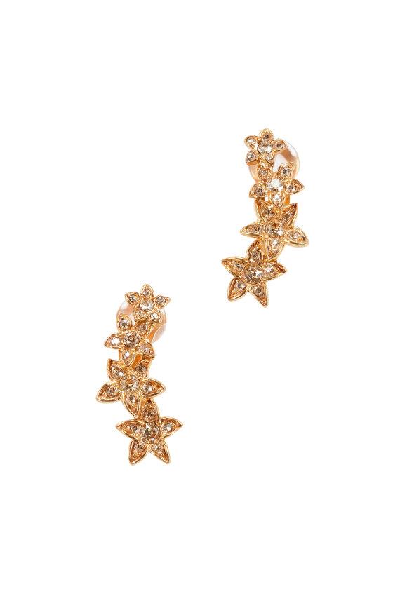 Oscar de la Renta Gold Starfish Clip-On Climber Earrings