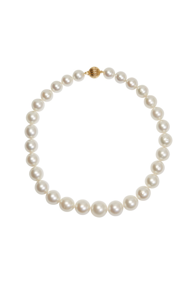 Yellow Gold White South Sea Pearl Necklace