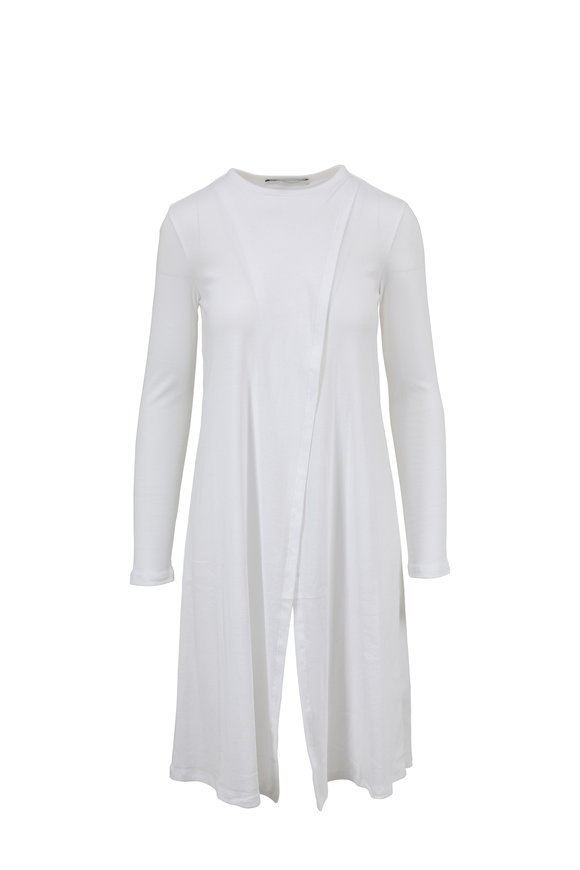 Rosetta Getty White Ribbed Cotton Cutaway Panel Top