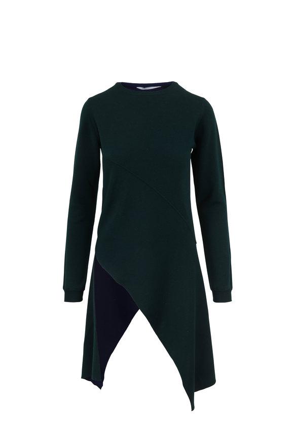 Rosetta Getty Pinwheel Hunter & Lapis Asymmetric Hem Sweater