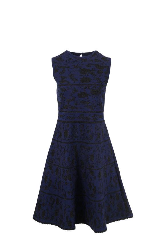 Carolina Herrera Navy & Black Knit Sleeveless Fit & Flare Dress