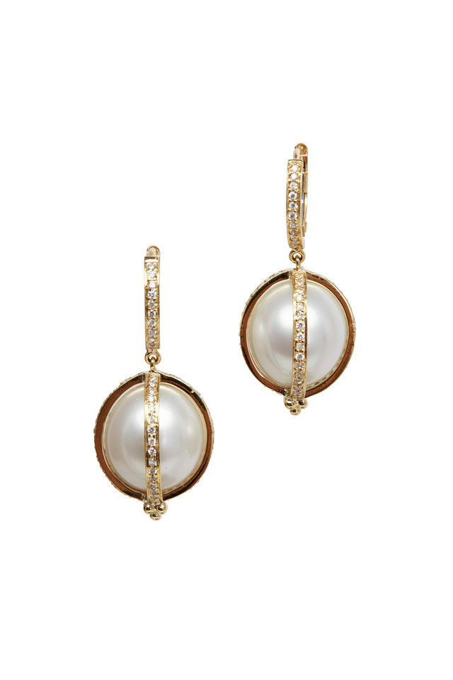 Gold South Sea Pearl Diamond Amulet Earrings