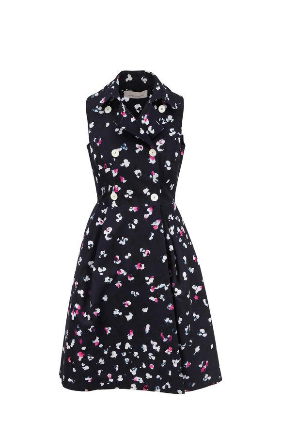 Carolina Herrera Navy & Raspberry Double-Breasted Sleeveless Dress