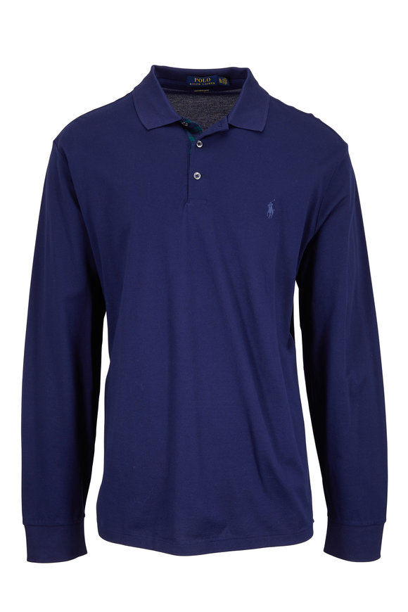 Polo Ralph Lauren Navy Blue Piqué Long Sleeve Slim Fit Polo