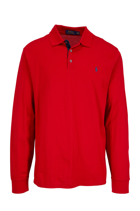 Polo Ralph Lauren Ralph Red Piqué Long Sleeve Slim Fit Polo