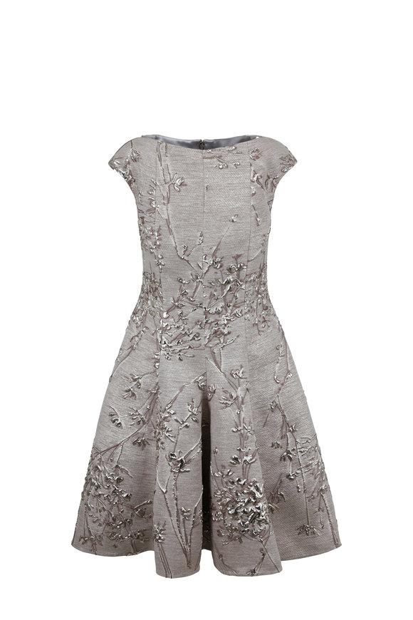 Talbot Runhof Korbut2 Metal Twig Jacquard Cap Sleeve Dress