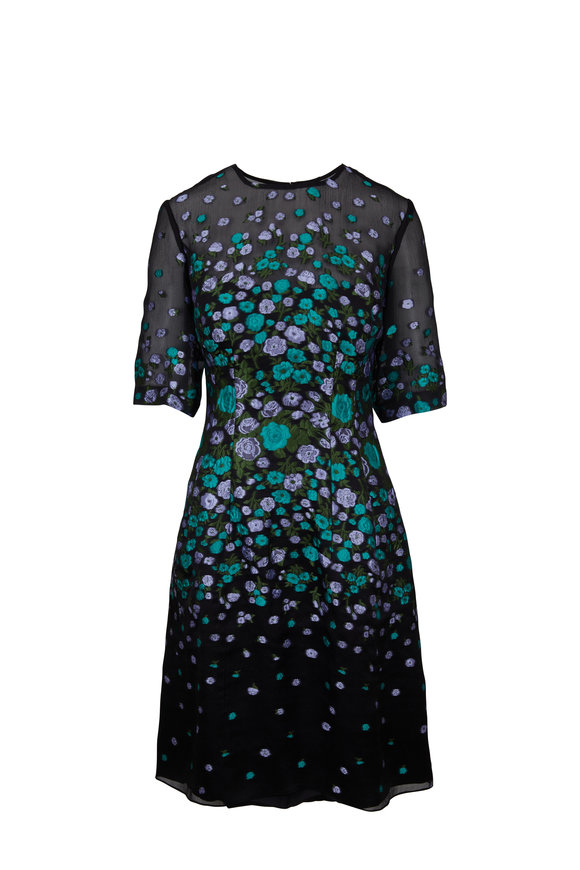 Lela Rose Holly Black & Lavender Floral Fil Coupé Dress