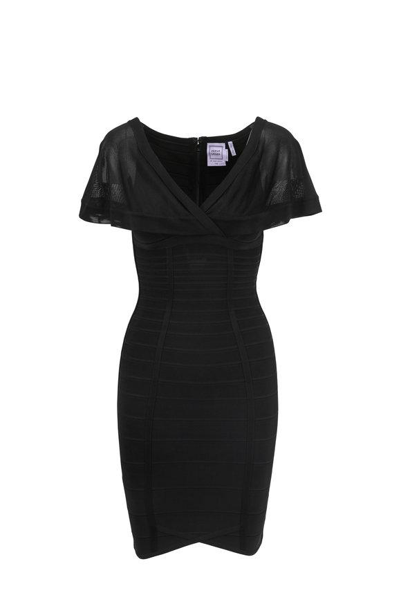 Herve Leger Caitlin Black Sheer Shoulder Bandage Mini Dress