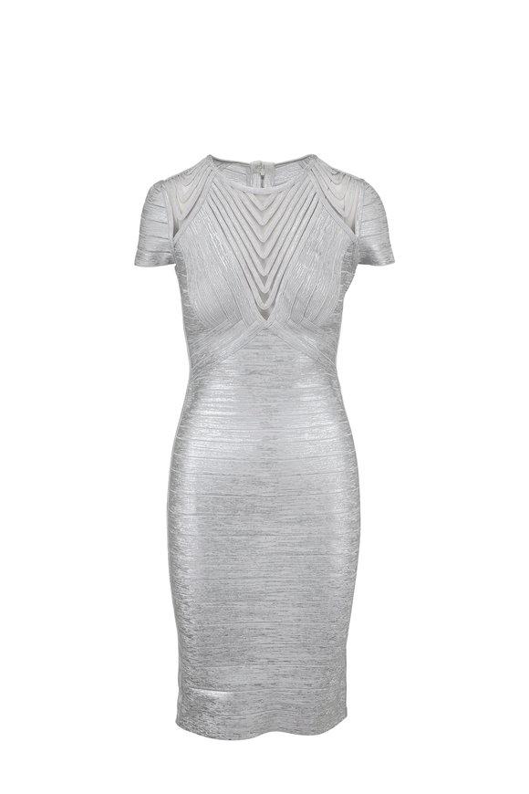 Herve Leger Avery Iridescent Silver Short Sleeve Bandage Dress