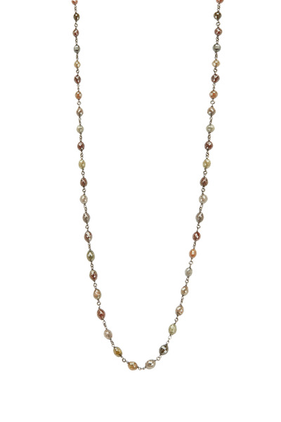 Kathleen Dughi - Brown Gold Brown Diamond Bead Chain Necklace