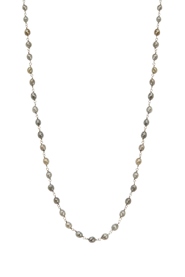18K White Gold Gray Diamond Bead Necklace