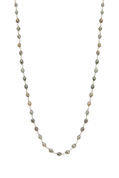 Kathleen Dughi - 18K White Gold Gray Diamond Bead Necklace