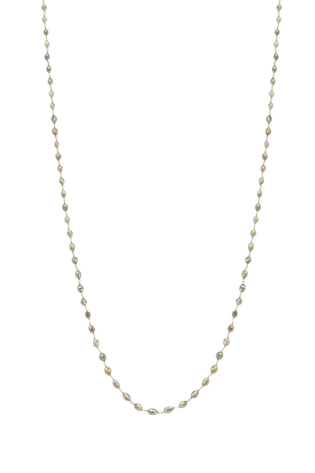 Gold Gray & Brown Diamond Bead Chain Necklace