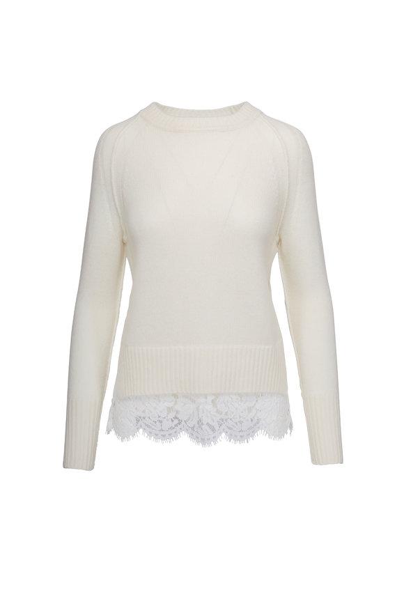 Brochu Walker Looker Ivory Wool & Cashmere Lace Hem Sweater