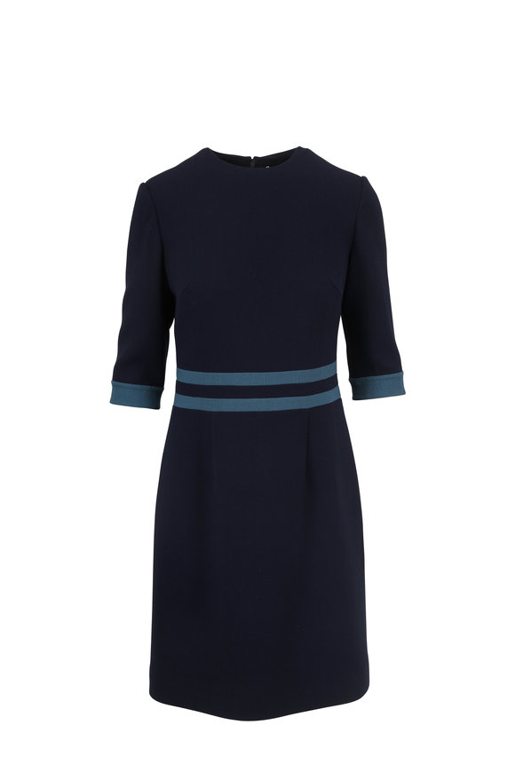Olivine Gabbro Strada Navy Blue Wool Waist Detail Dress