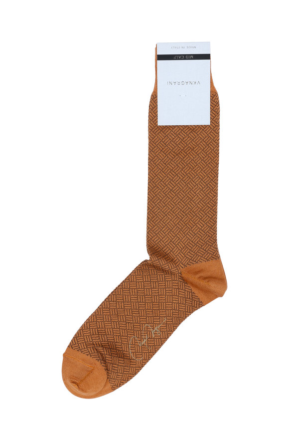 VKNagrani Gold Geometric Pattern Socks