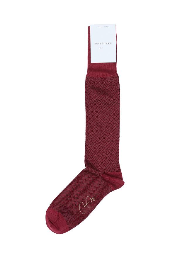 VKNagrani Wine Geometric Pattern Socks