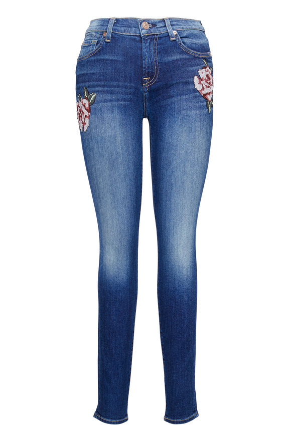 7 For All Mankind Super Skinny Floral Patch Jean