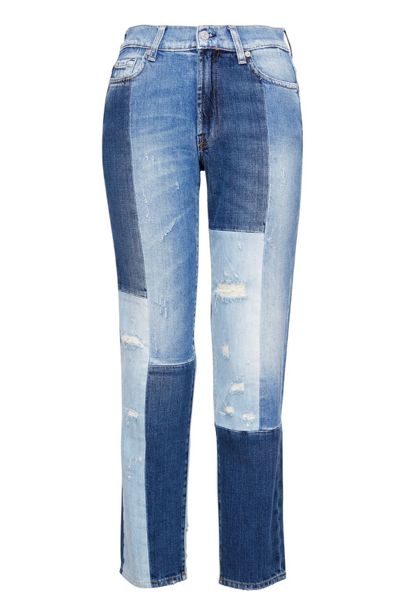 7 For All Mankind High-Waist Patchwork Distressed Jean