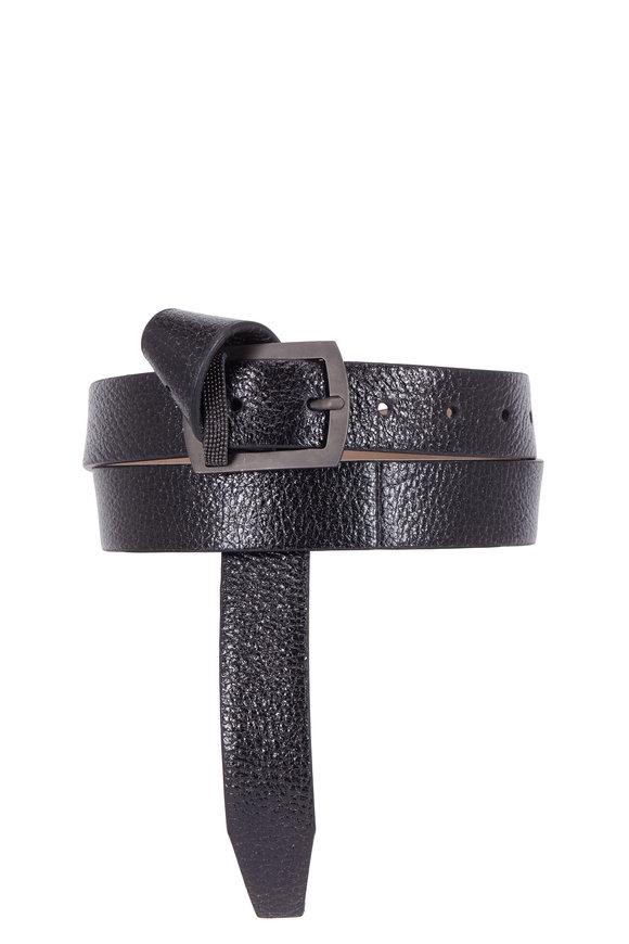 Brunello Cucinelli Black Leather Jean Belt