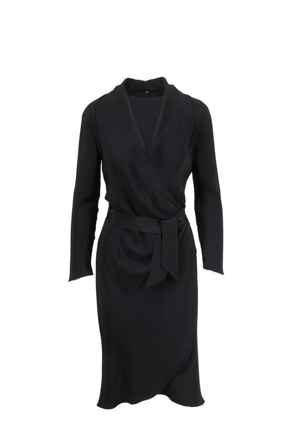 Peter Cohen Black Silk Wrap Dress