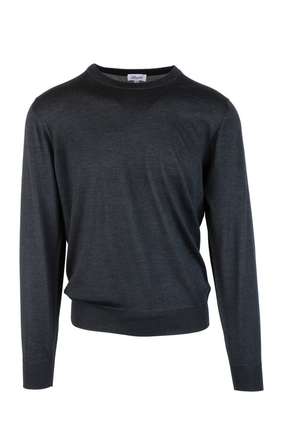 Brioni Charcoal Gray Wool, Silk & Cashmere Sweater