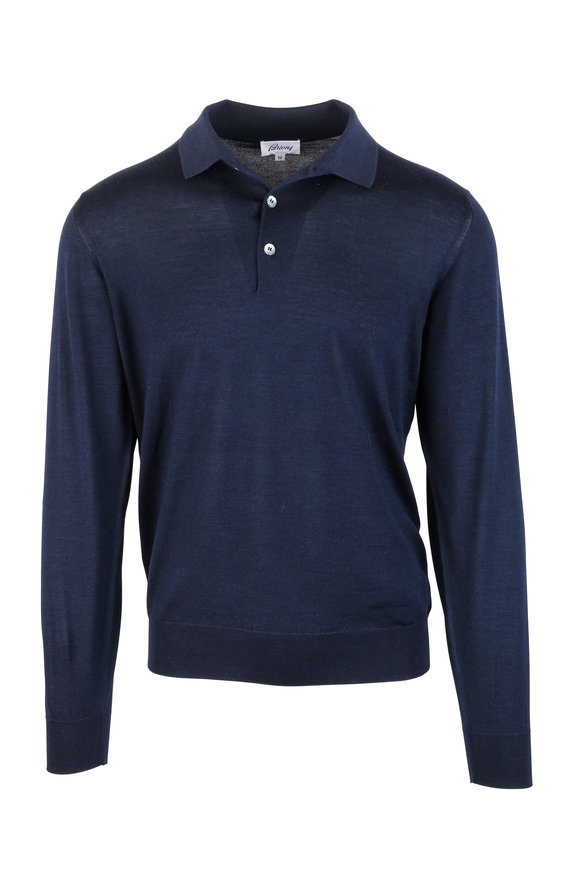 Brioni Navy Blue Wool, Silk & Cashmere Polo