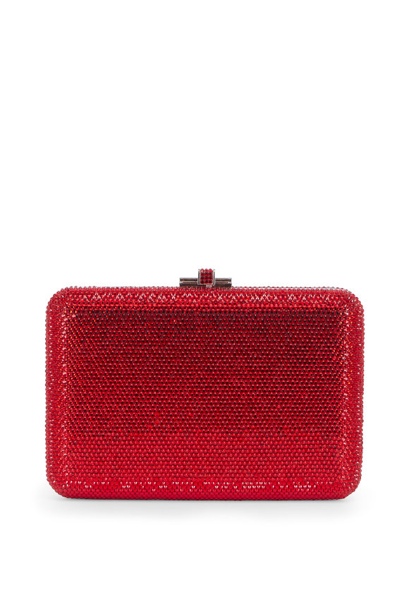 Judith Leiber Red Crystal Slim Slide-Lock Clutch