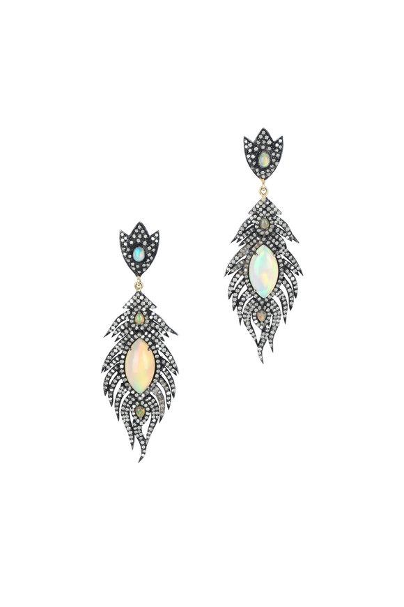 Loren Jewels 14K Gold & Silver Opal & Diamond Feather Earrings